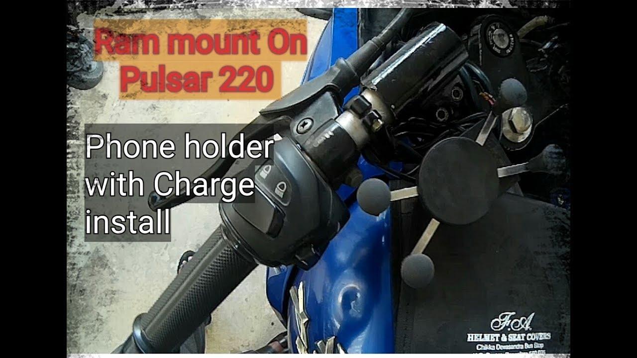 Pulsar 220 X Grip Bike Phone Holder Charger Ram