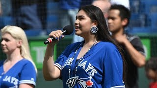 Teen sings O Canada in Cree at Toronto Blue Jays game
