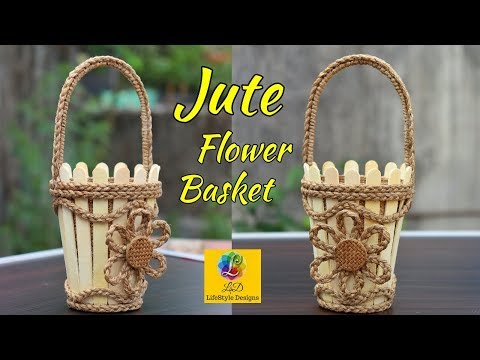 DIY Flower Basket with Jute Rope and Popsicle Sticks   Jute Flower Basket   Jute and Popsicle Craft