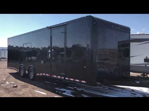 8.5x28 Enclosed Cargo Trailer insulated, power, a/c, and Full Bathroom!