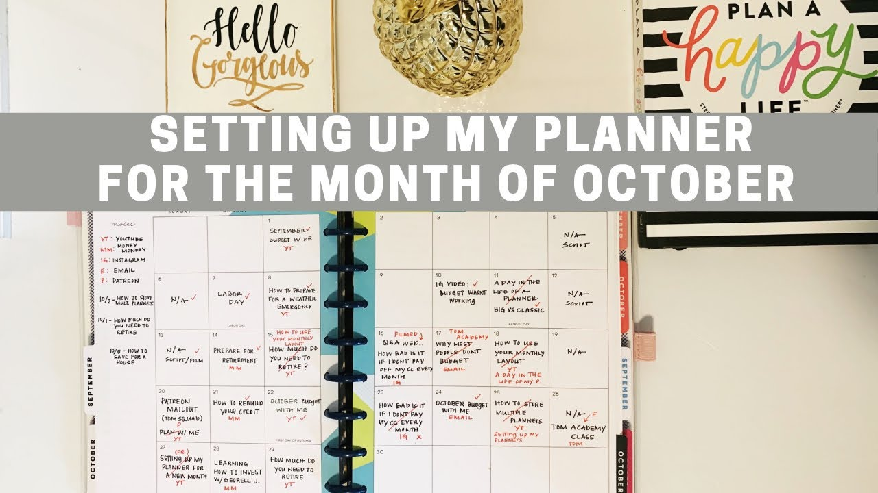 Setting Up My Planner For The Month Of October
