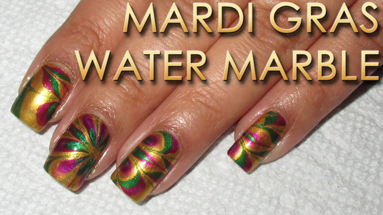 Mardi Gras Water Marble | DIY Nail Art Tutorial - YouTube