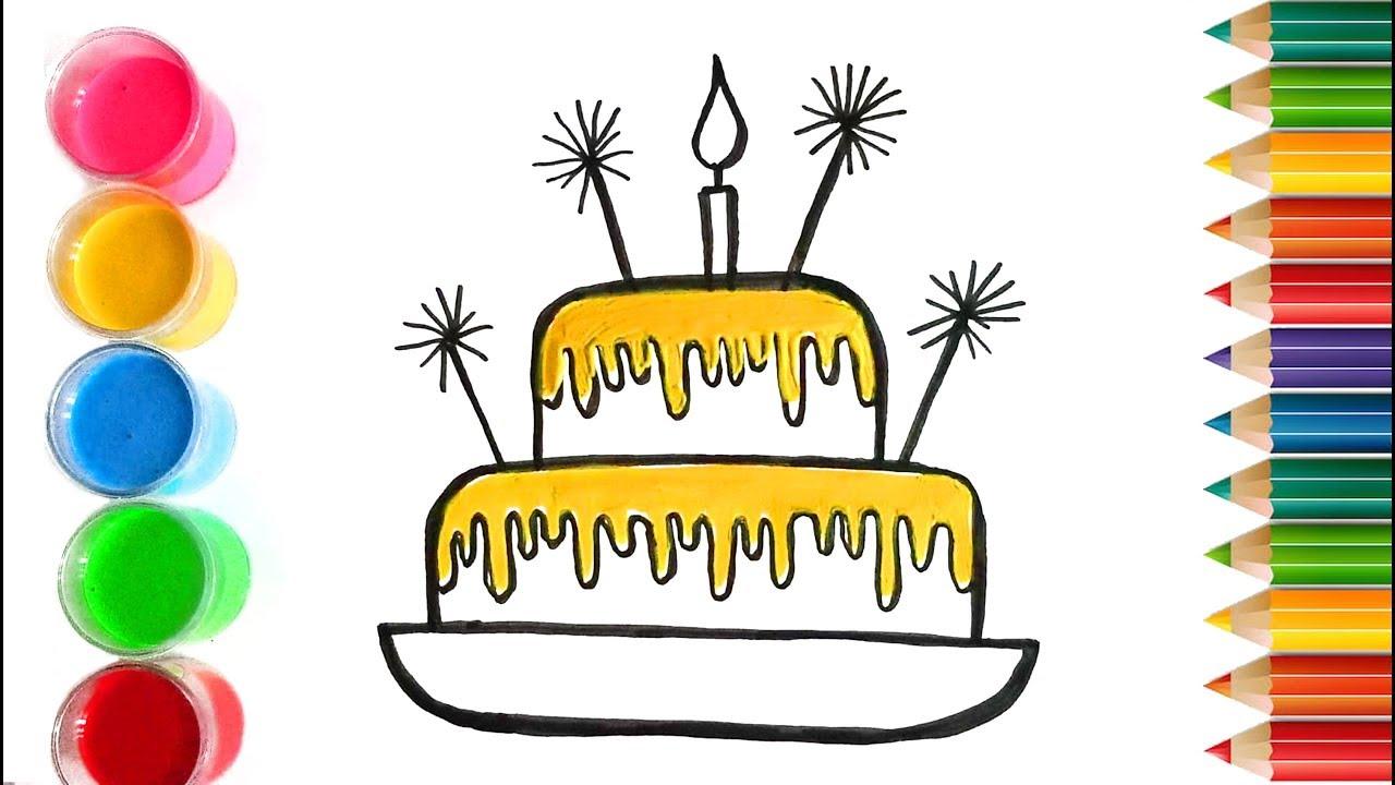 How To Draw A Birthday Cake For Kids Comment Dessiner Un Gâteau D Anniversaire Pour Enfants