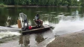 Homemade mini airboat test