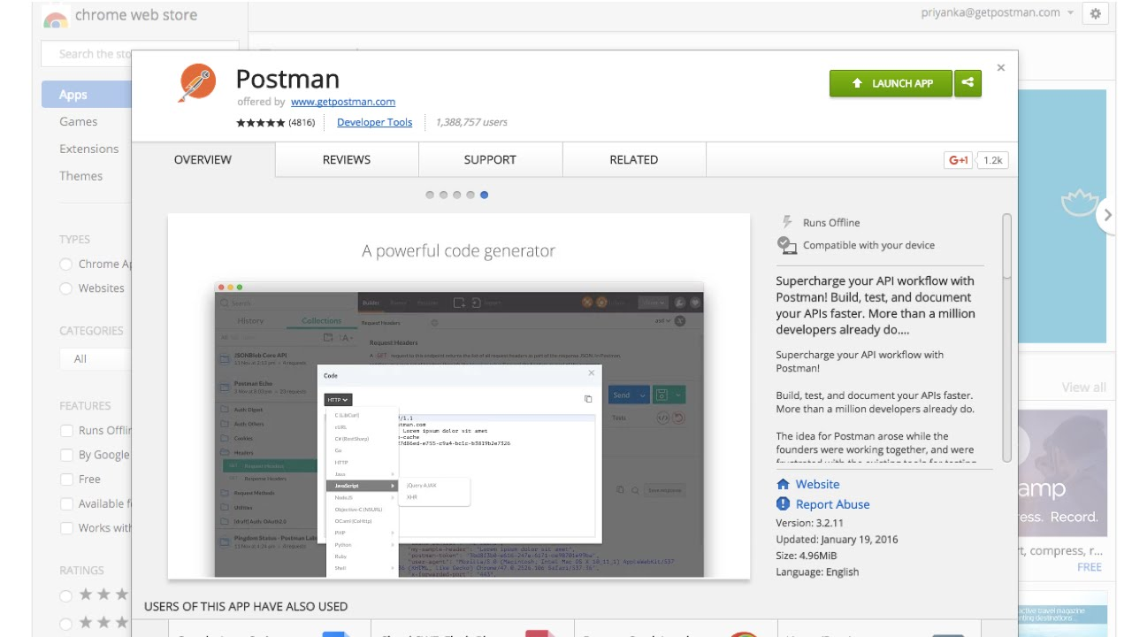 How to install and open Postman in Chrome