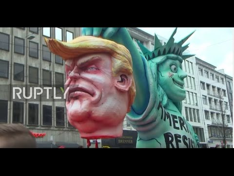 Germany: Trump effigy caught mounting Statue of Liberty at Dusseldorf Rosemontag parade