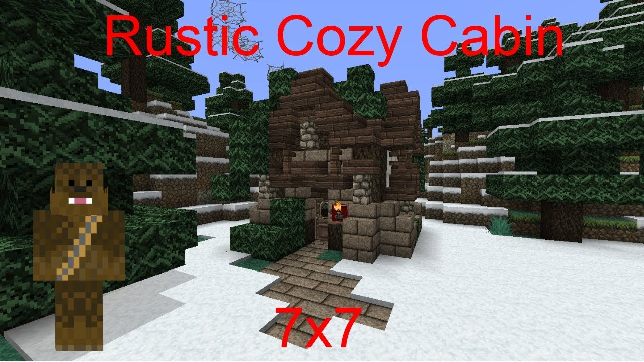 Minecraft 7x7 Rustic Cozy Cabin Tutorial Youtube