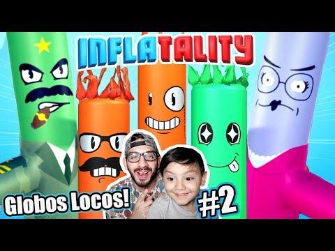 Luchas Locas de Globos   Inflatality Family Gaming   Juegos Karim Juega
