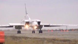 القاذفة الروسية توبوليف تي يو-22 إم تلقي قنابلها على مواقع الإرهابيين في سورية