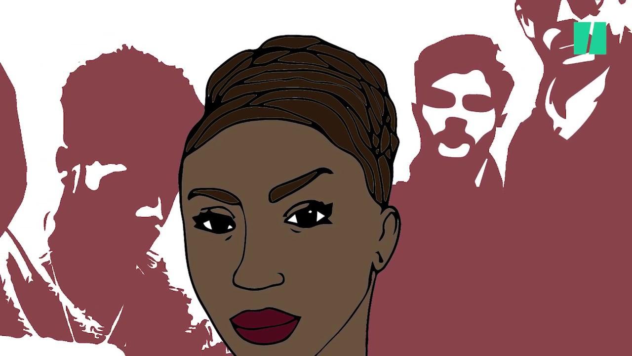 Des hommes noirs avec une femme mature