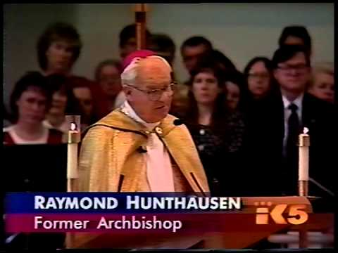 The Most Reverend Raymond G. Hunthausen, retired Archbishop of Seattle, delivers a eulogy.