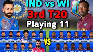India vs West Indies 3rd T20 Match 2019 Both Team Playing 11 | Ind vs WI 3rd T20 match | Playing 11