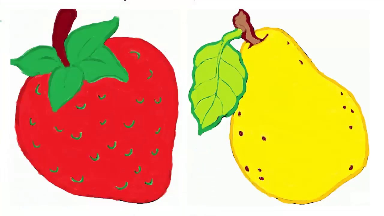 Painting Fruits - Strawberry, Pear | Coloring Pages for Kid | Shape ...