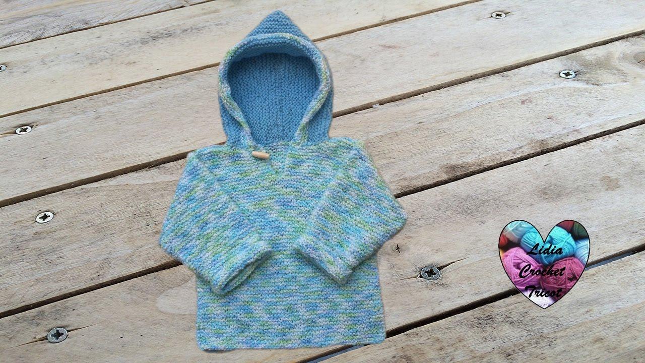77e1a7fa074de Pull à capuche bébé tricot facile - YouTube