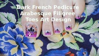 How To Dark Purple Uneven French Pedicure Arabesque Filigree Toes Art Design