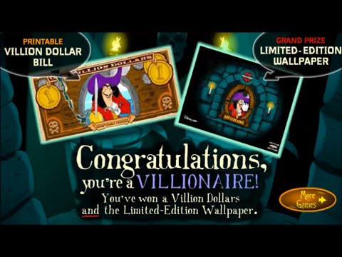 Villionaire Dollars - Who wants to be a Villionaire - Captain Hook from Peter Pan Kids Online Games