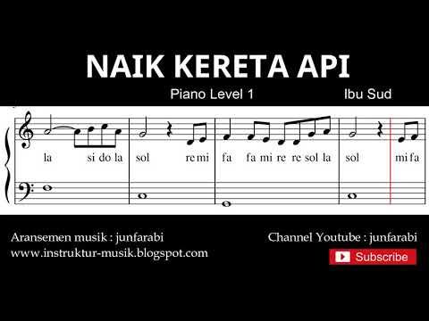 Not Balok Naik Kereta Api - Tutorial Piano Level 1 - Not Lagu Kereta Api Lagu Anak