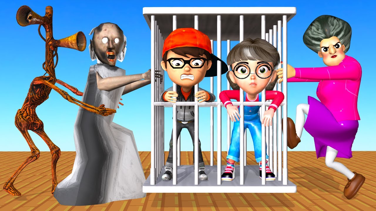 Scary Teacher 3D Miss T Rescue Nick and Tani in Mini Transform Cage Built by Siren Head vs Granny