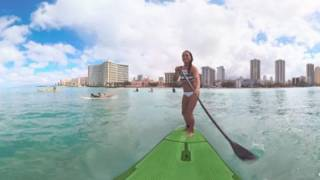 SUP Board Surfing on Oahu - 360 Video (#LetHawaiiHappen with Jenny WaikikiLove Van Gieson)