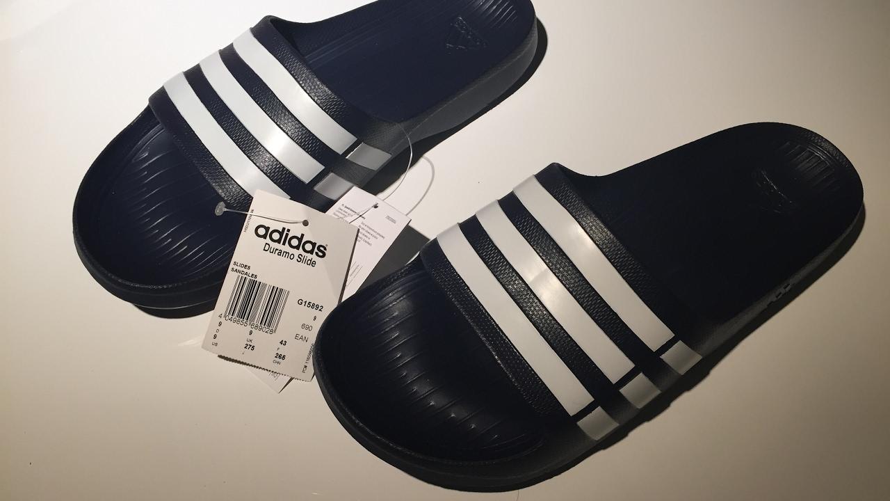 671c136022 Close-up Unboxing Adidas Duramo Slide - YouTube