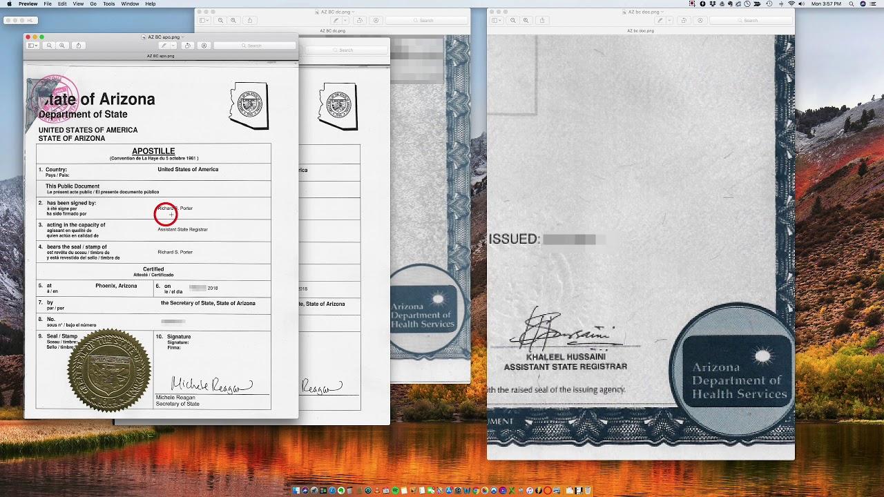 birth certificate arizona apostille