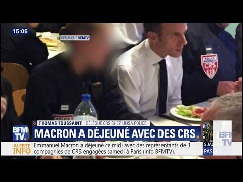 Emmanuel Macron a déjeuné avec des CRS engagés samedi à Paris