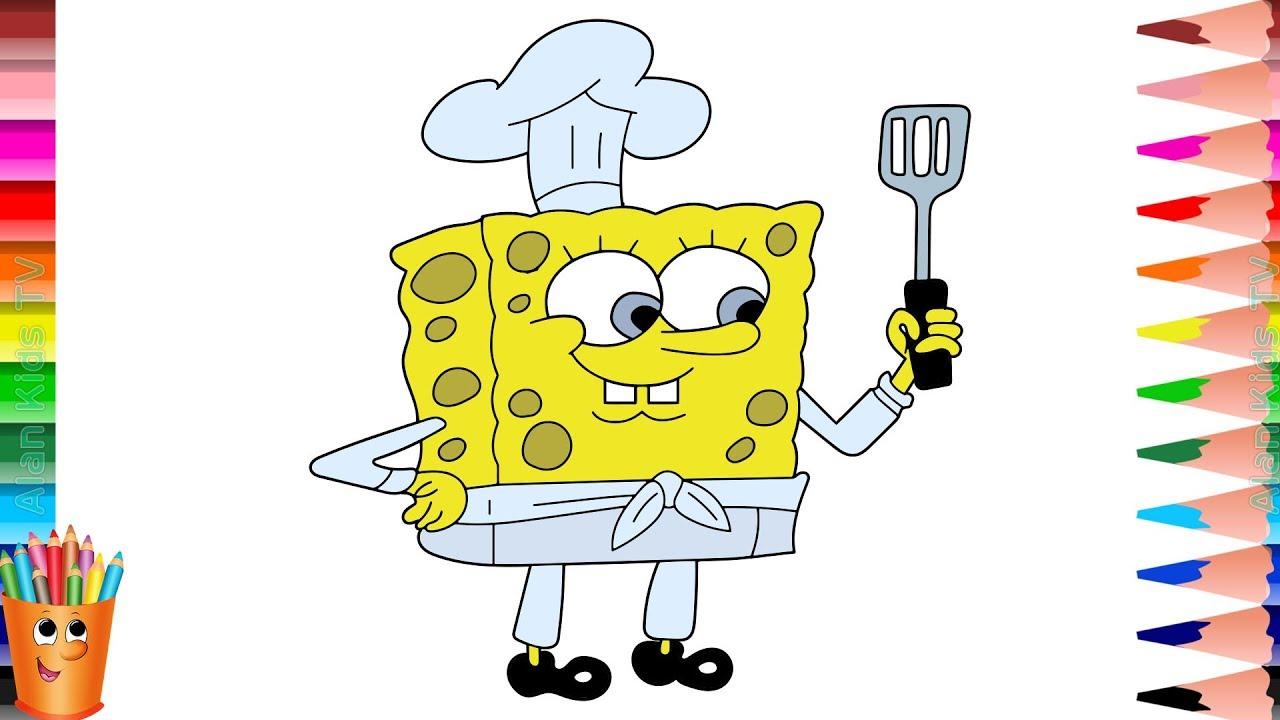 Belajar Menggambar Dan Mewarnai Spongebob Koki Learn
