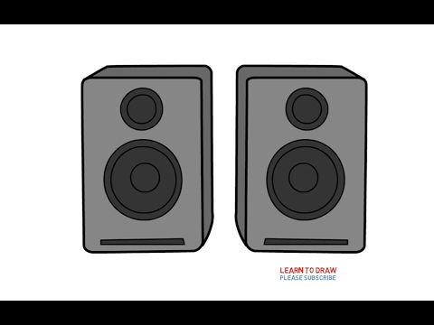 how to draw a speaker step by step for kids youtube