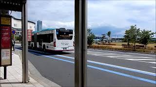 イオンモール幕張新都心の敷地内を快走する、京成バスの「連節バス」