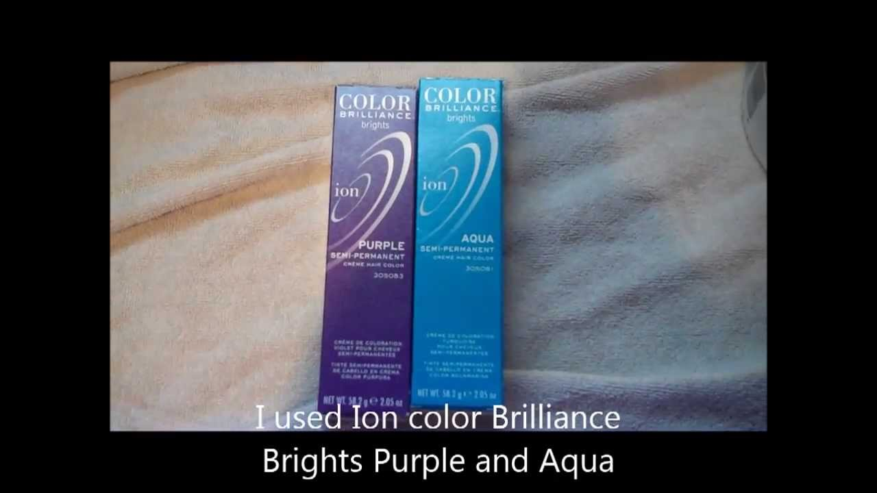 bleaching and dying your hair blue and purple using ion color brilliance brights youtube