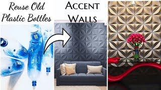 How To Use Plastic Bottles To Make Accent Walls! Home Decor Ideas On A Budget!
