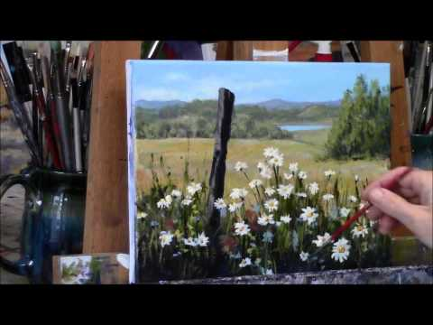 """Summer Daisies Country Acrylic Landscape Painting Demo """"Summer Daydream"""" Part 2"""