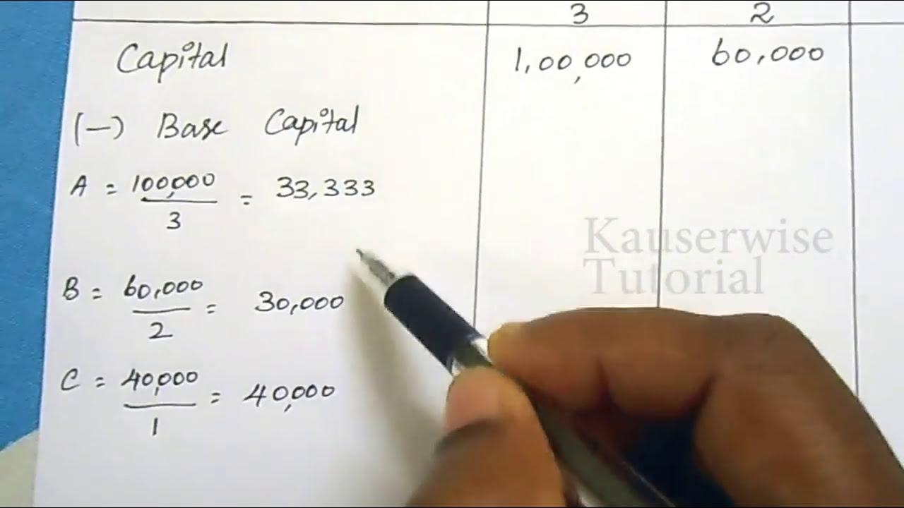 Dissolution of Partnership - Proportionate Capital Method - Surplus Capital  Method :-kauserwise