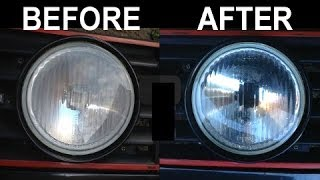 VW Golf MK2 fix misty/cloudy spotlights video