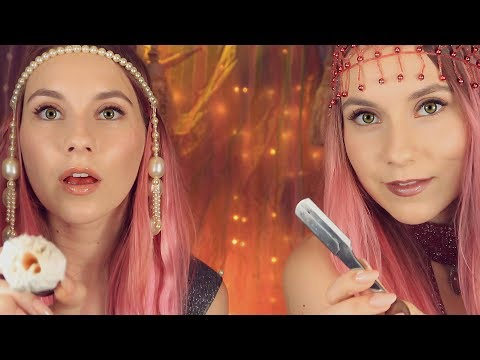 ASMR Twins Shaving is back! ♣️ Massage ♥️ Kissing ♠️ Luxury Facial Spa roleplay for DOUBLE  tingles