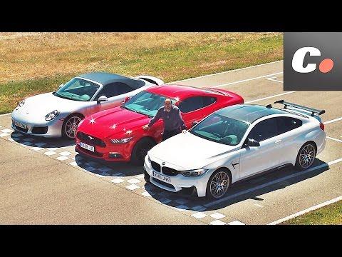 Porsche 911 vs Ford Mustang vs BMW M4 | Prueba / Comparativa / Test / Review en español | coches.net
