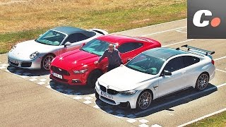 Porsche 911 vs Ford Mustang vs BMW M4 | Prueba / Comparativa / Test / Review en español | coches.net