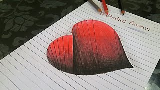 Drawing a 3D Hole Heart Shape on Line Paper | Amazing anamorphic illusion | Easy 3D Drawing for Kids