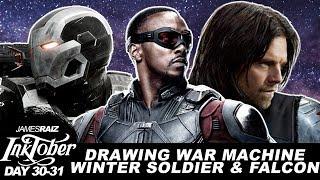 DRAWING WINTER SOLDIER, FALCON & WAR MACHINE!  INKTOBER DAY 30 & 31