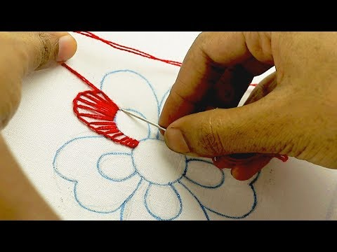 very easy hand embroidery flower design, latest fancy flower embroidery design #EmbroideryDesigns