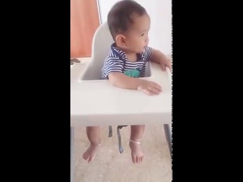 In his IKEA high chair : 8m4d
