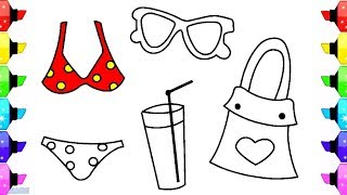 How to Draw Accessories for Hair | Coloring Pages Set Barber | Comb, Hairdryer, Brush, Scissors