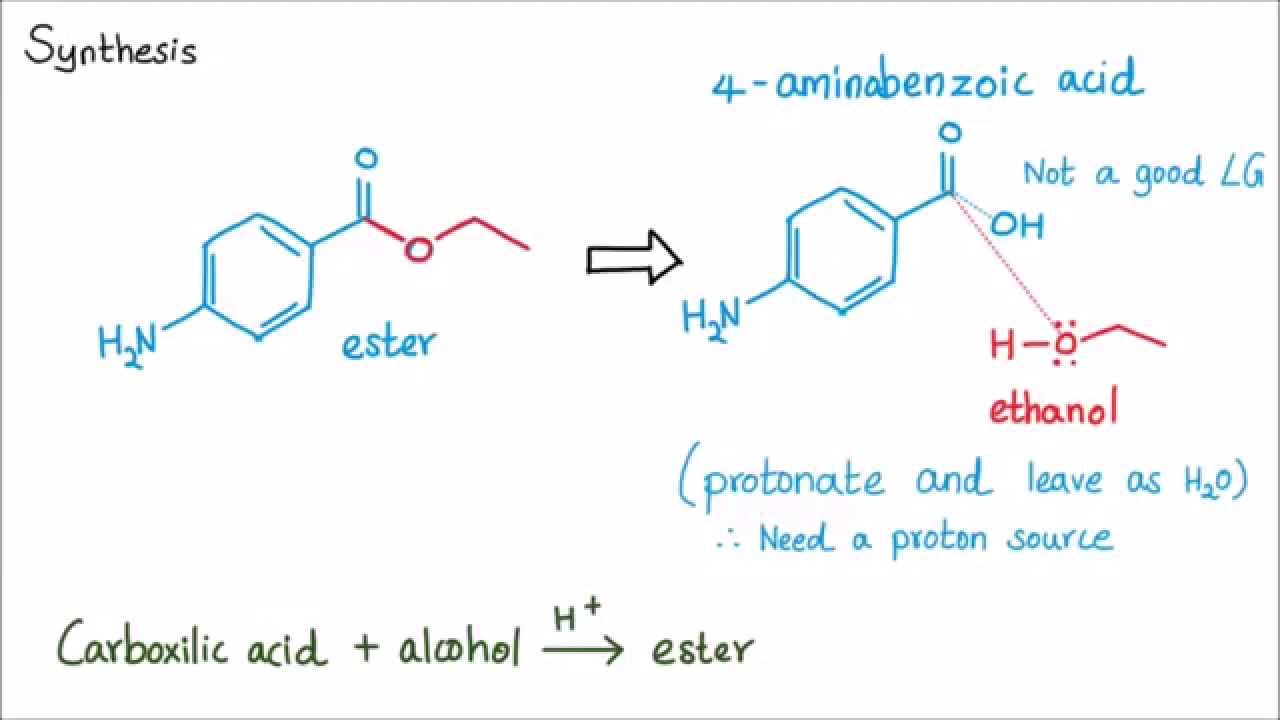 esterification of p aminobenzoic acid Fischer esterification fischer-speier esterification the lewis or brønstedt acid-catalyzed esterification of carboxylic acids with alcohols to give esters is a typical reaction in which the products and reactants are in equilibrium.