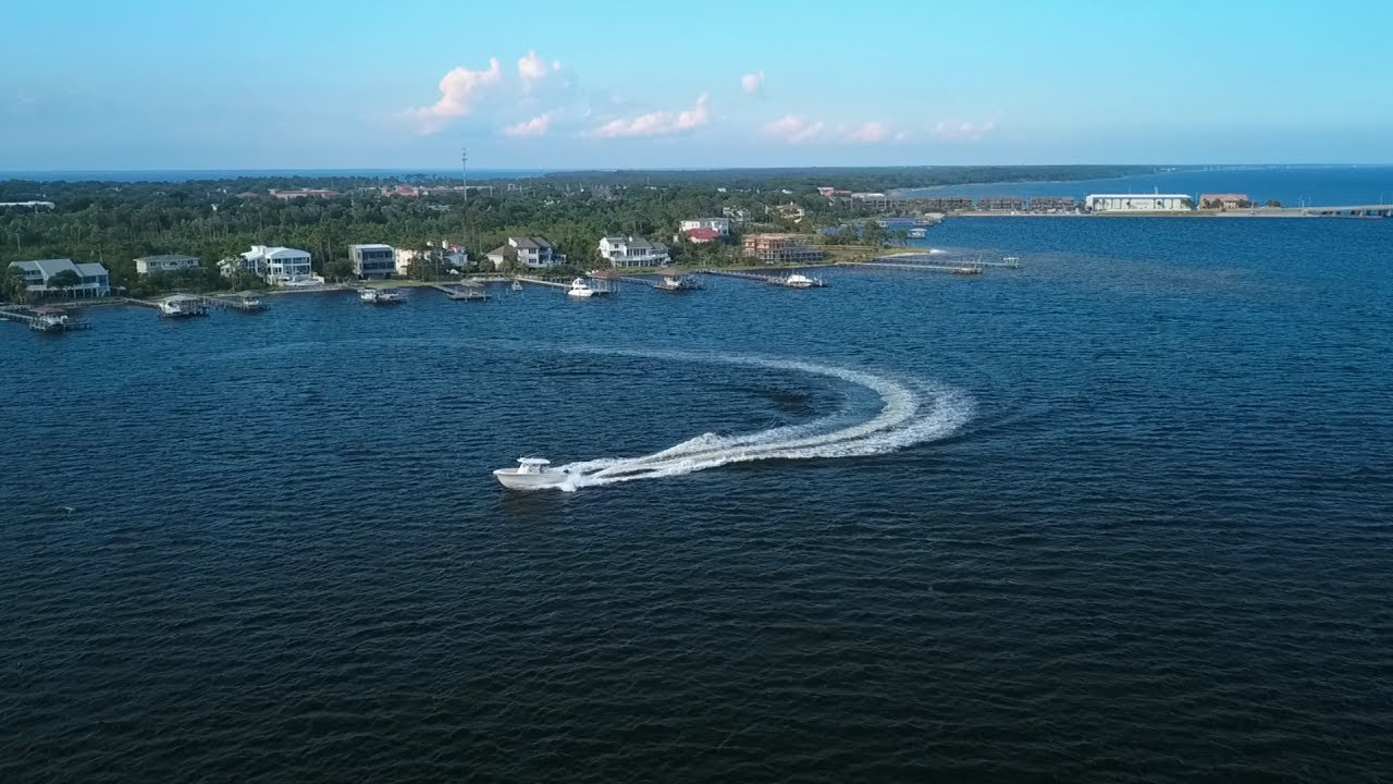 Drone Flying At Santa Rosa Sound Pensacola Beach Fl