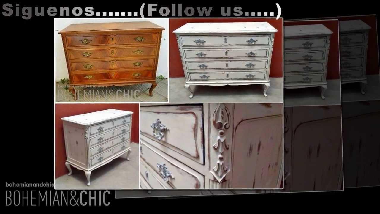 C moda vintage estilo shabby vintange chest drawer in - Como restaurar una comoda ...