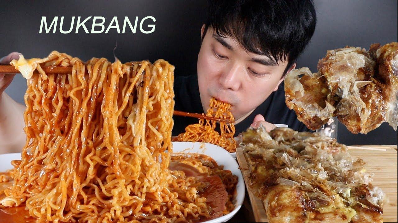요즘 핫! 하다는치즈 불닭볶음면과 타코야끼 먹방 ASMR MUKBANG Cheese Fire Noodle & Takoyaki | REAL SOUND | EATING SHOW