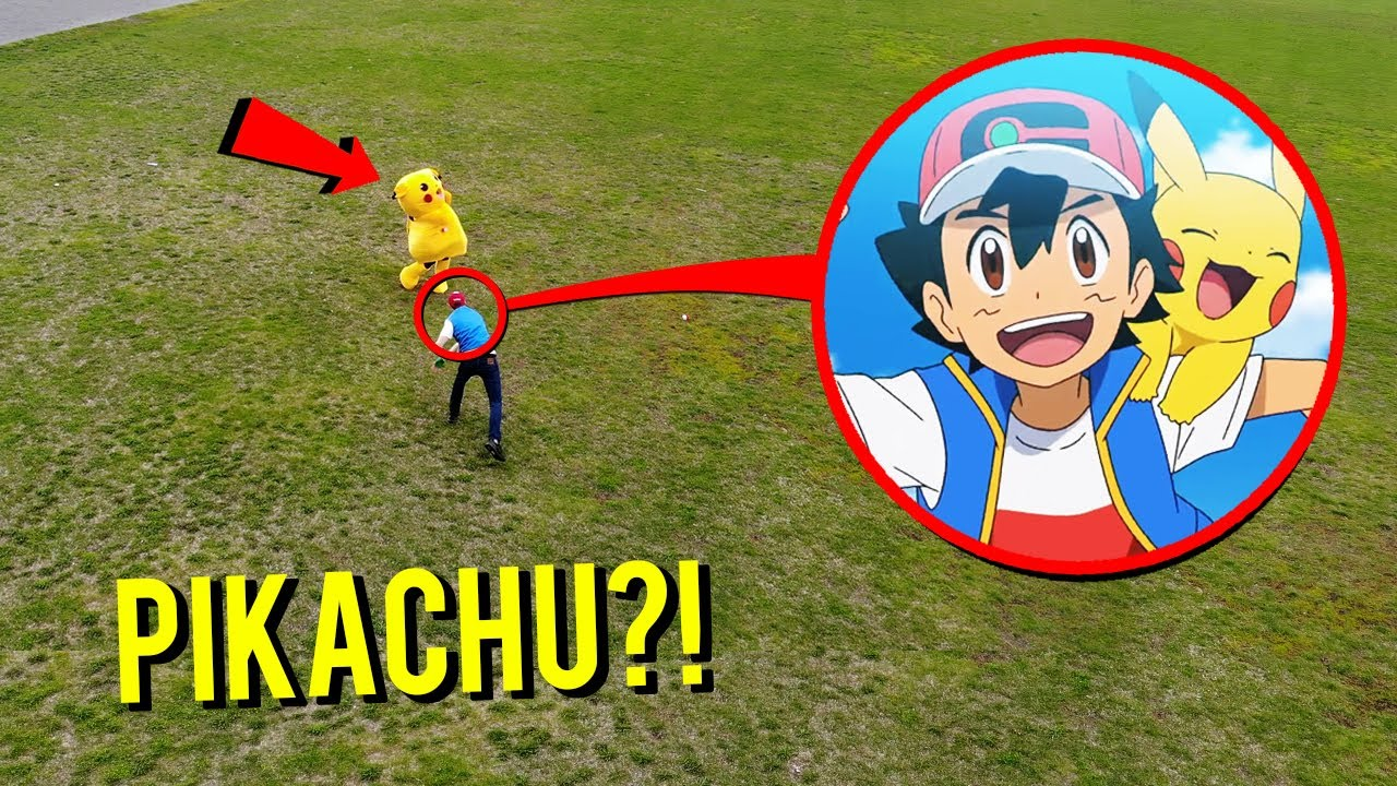 Download DRONE CATCHES PIKACHU AT ABANDONED FIELD!! (ASH KETCHUM THREW POKEBALL!!)