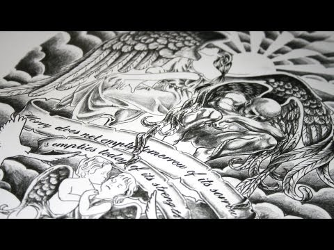 Family Of Angels Tattoo Design-Speed Drawing