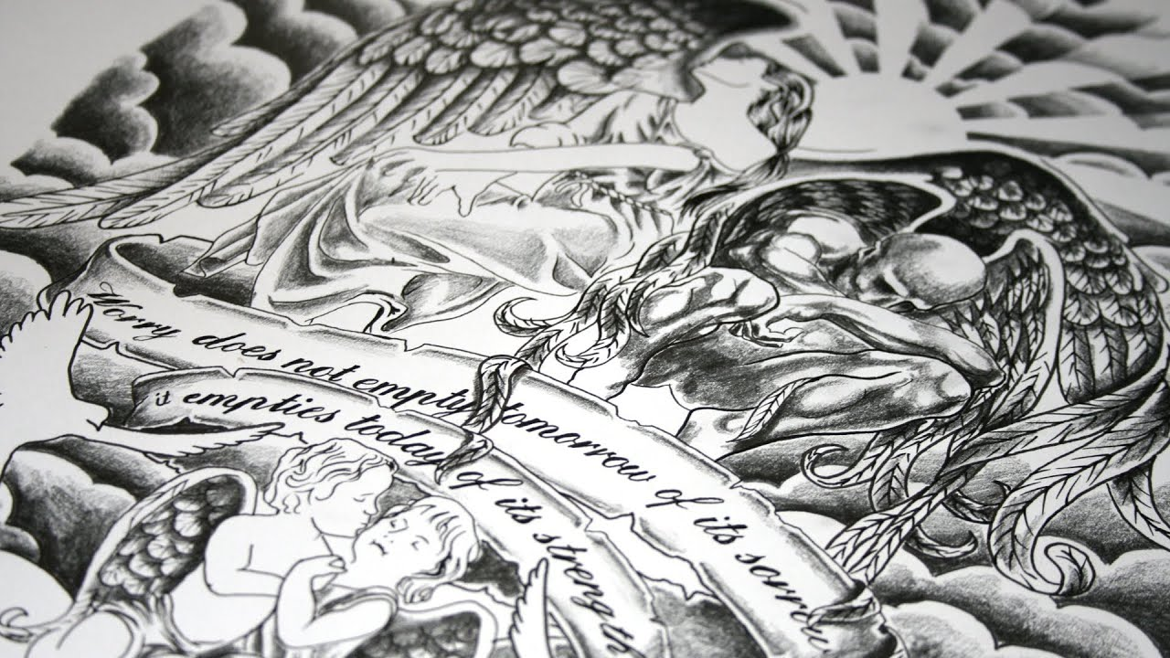 family of angels tattoo design speed drawing youtube