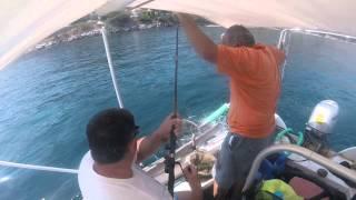 Kassiopi fishing trip with Kostas, Keane, Mike and Evan